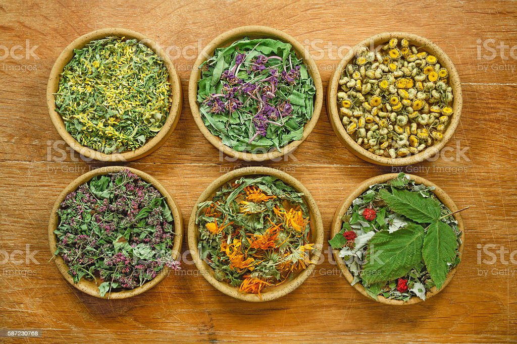 Dried herbs. Herbal medicine, phytotherapy medicinal herbs. stock photo