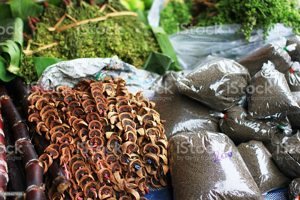 dried herbs in the spice souq at Thailand stock photo