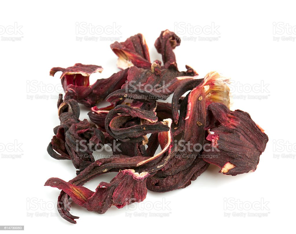 dried Hibiscus tea isolated on white stock photo
