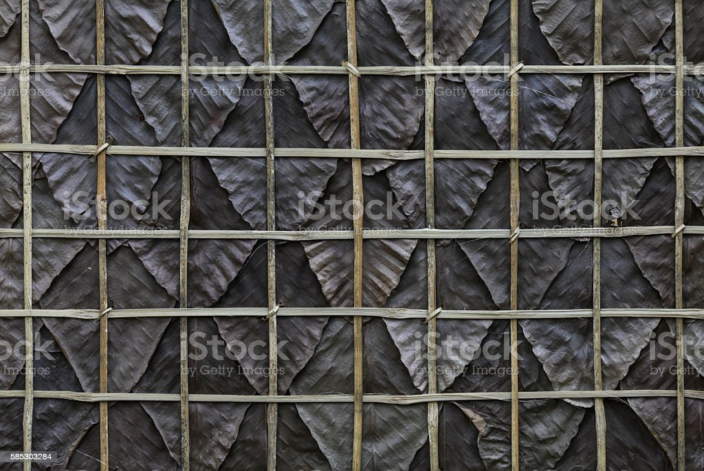 Dried leaves fence. Dried leaves fence on traditional wall. stock photo