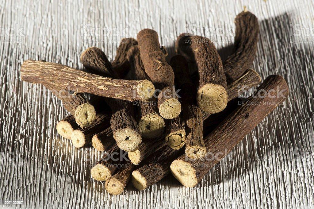 Dried licorice sticks stock photo
