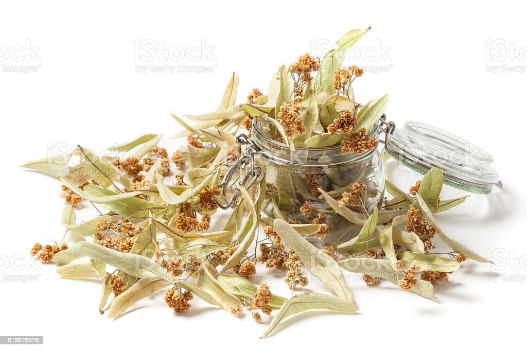 Dried Linden Flowers in a Jar on White stock photo