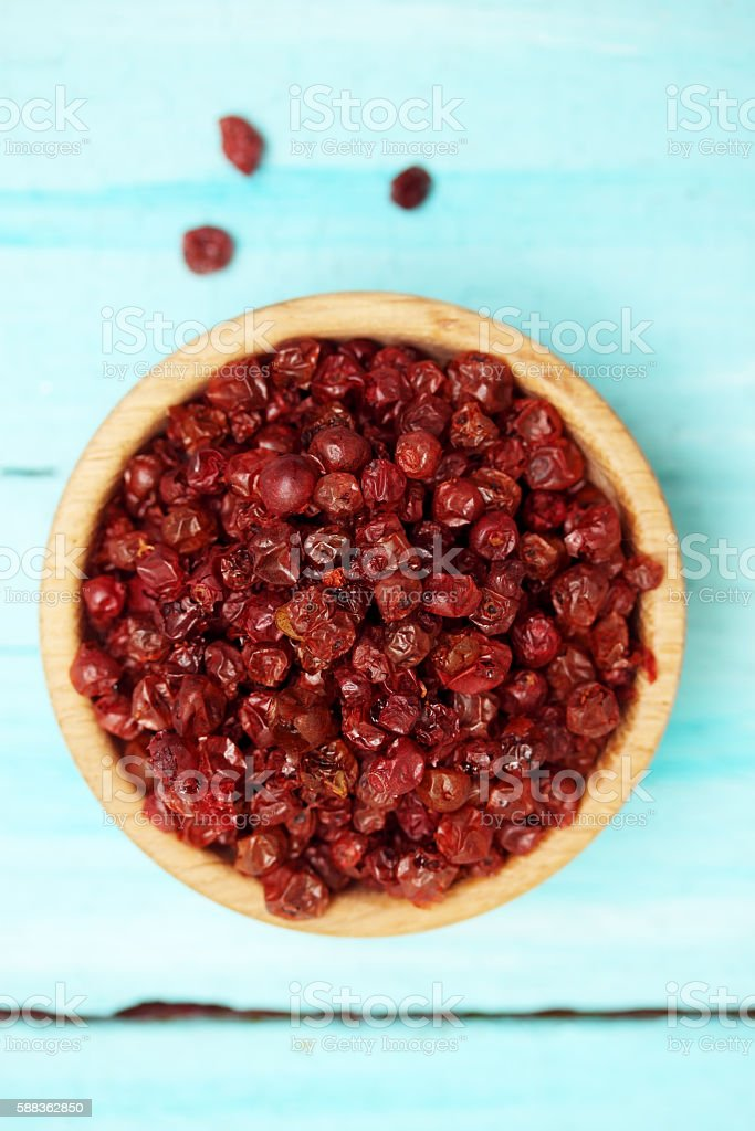 Dried Lingonberry,  top view stock photo