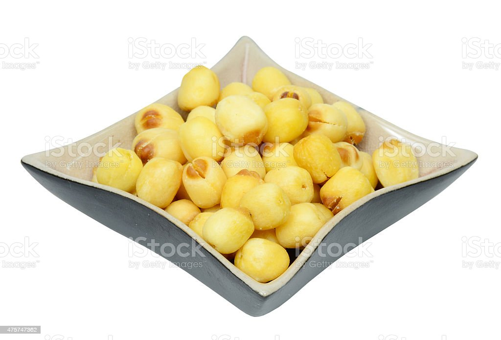 Dried lotus seed snack stock photo