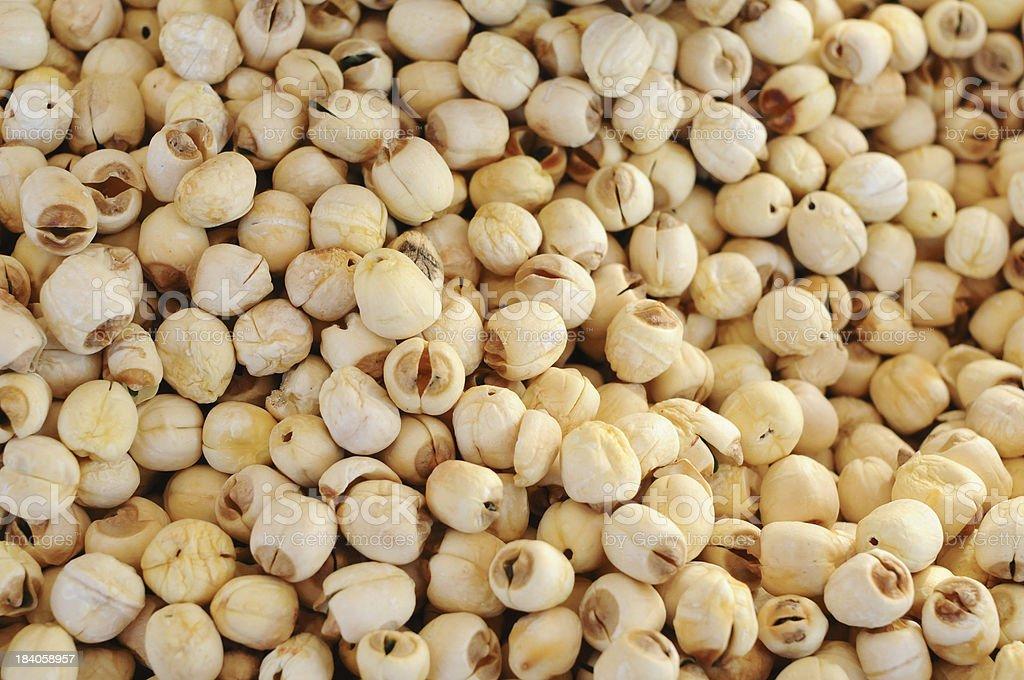 Dried lotus seeds stock photo