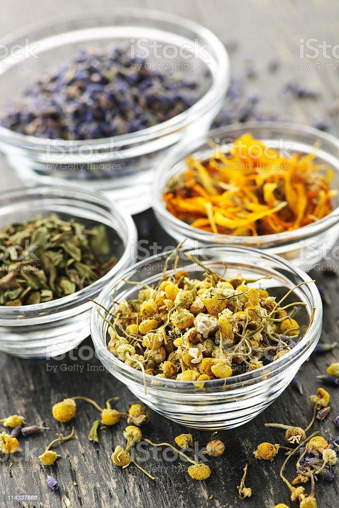 Dried medicinal herbs stock photo