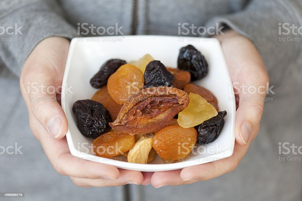 Dried mixed fruits stock photo