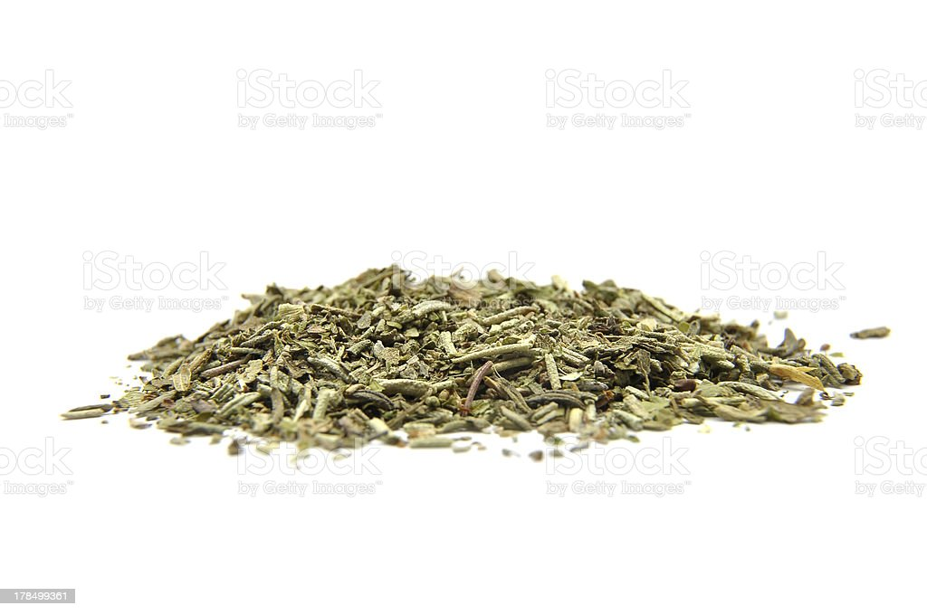 Dried mixed herbs on white royalty-free stock photo