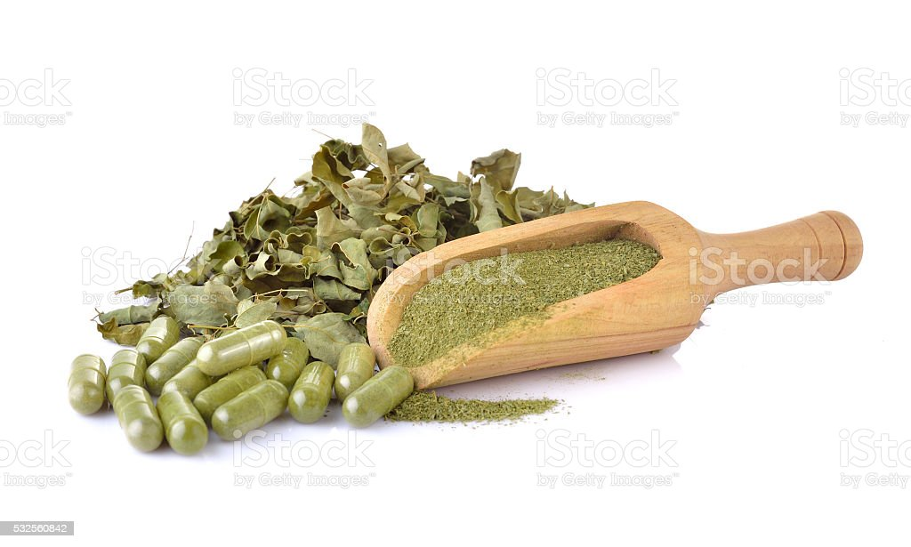 Dried Moringa leaf and powder - medicinal plant. stock photo
