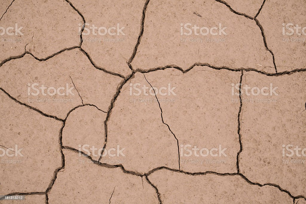 Dried mud that has cracked into a interesting pattern. stock photo