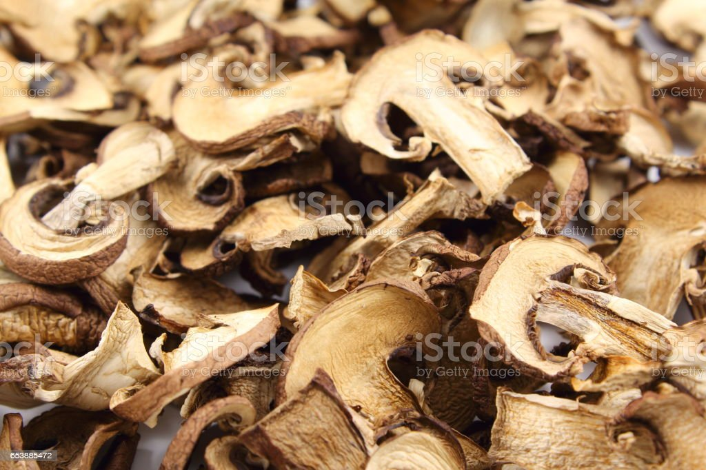 dried mushroom slices food background texture stock photo
