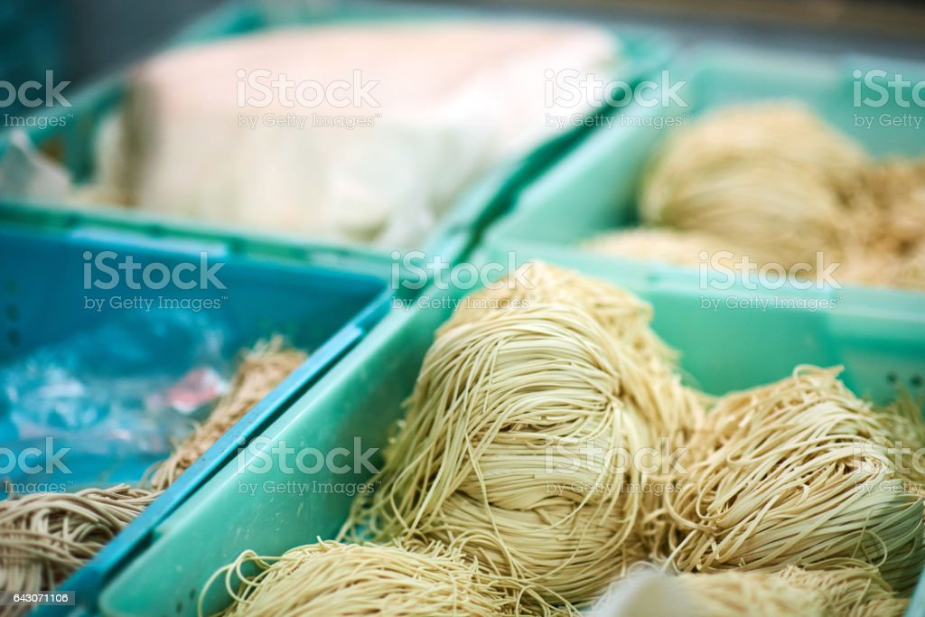 Dried noodles at a Chinese wet market stall stock photo
