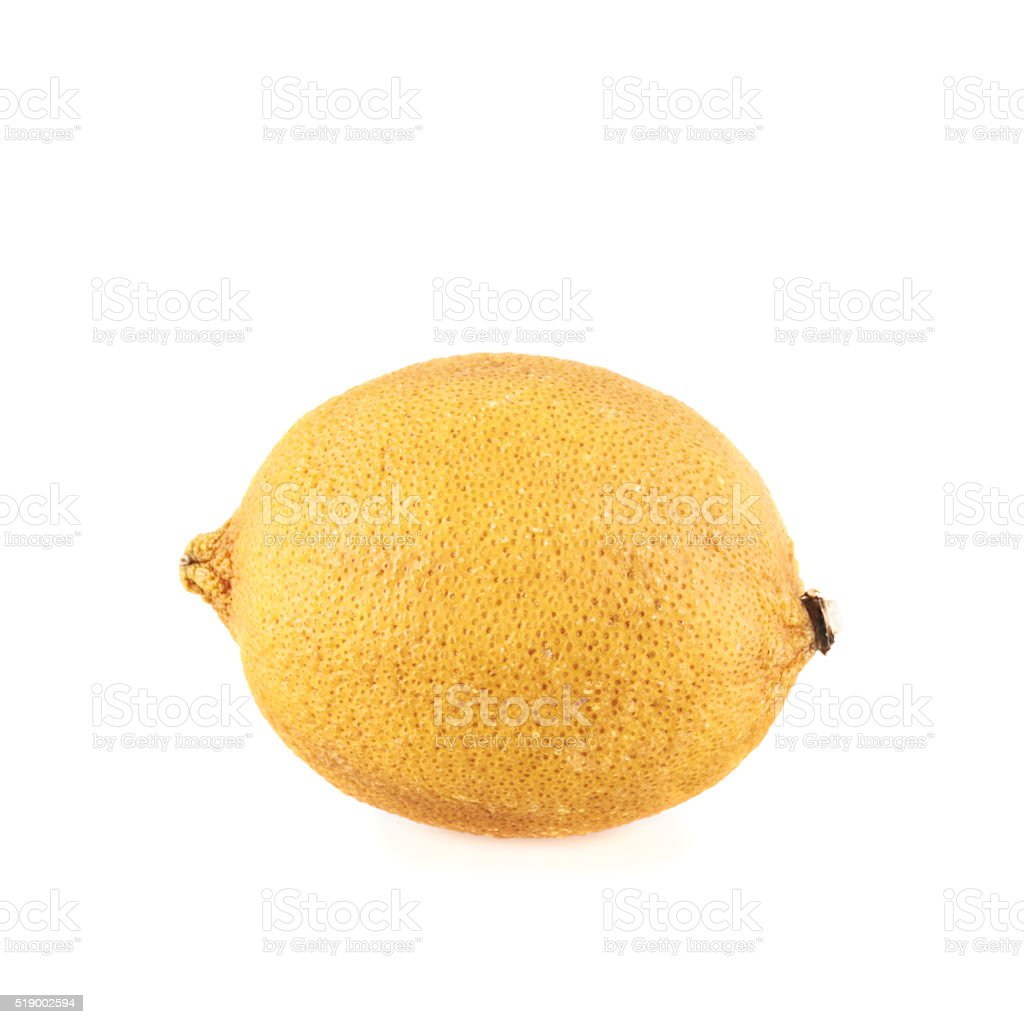 Dried old lemon fruit isolated stock photo