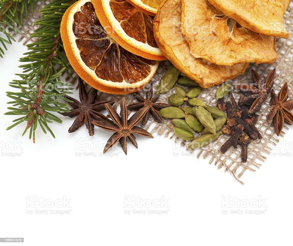 dried orange slices and spices royalty-free stock photo