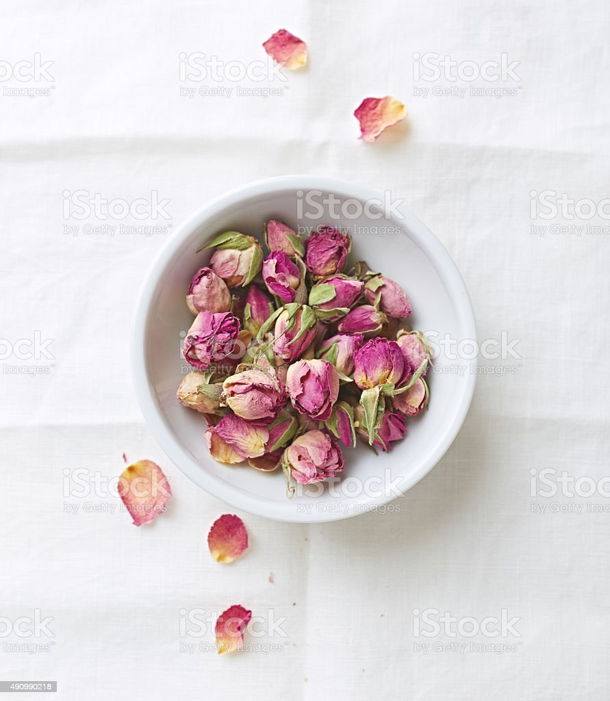 Dried organic rose buds stock photo