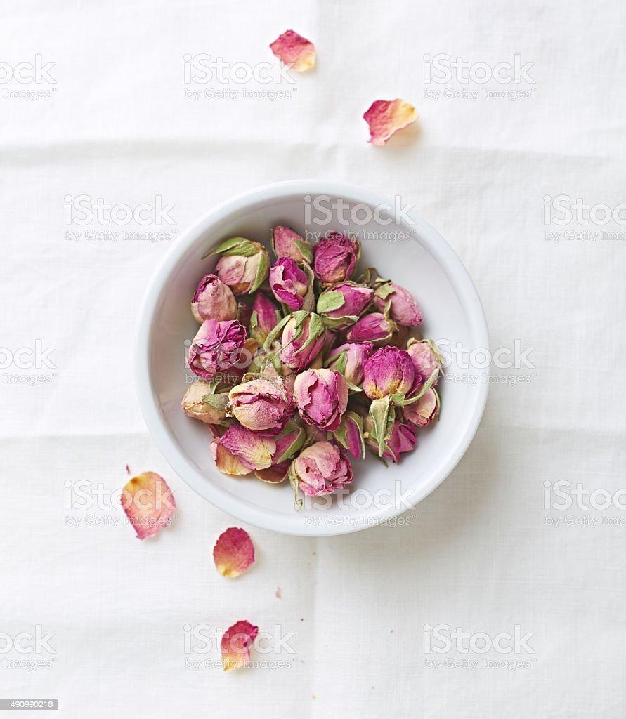 Dried organic rose buds stock photo