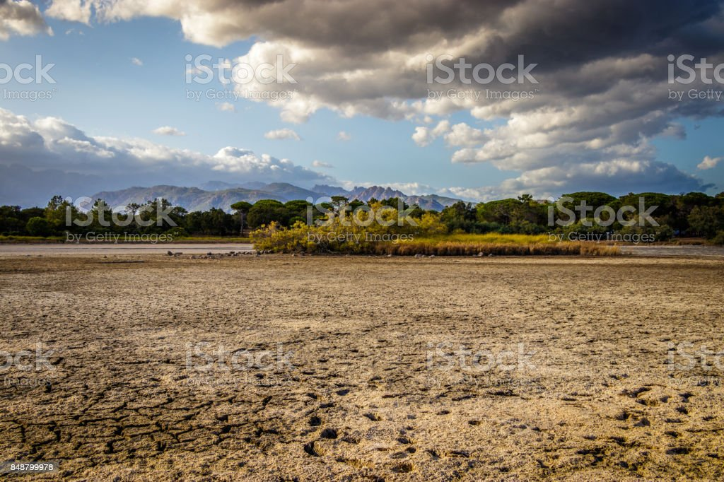 Dried out lake stock photo