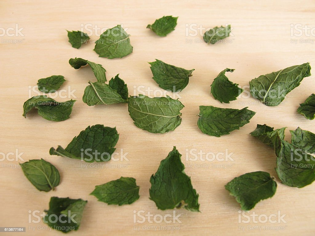 Dried peppermint leaves stock photo
