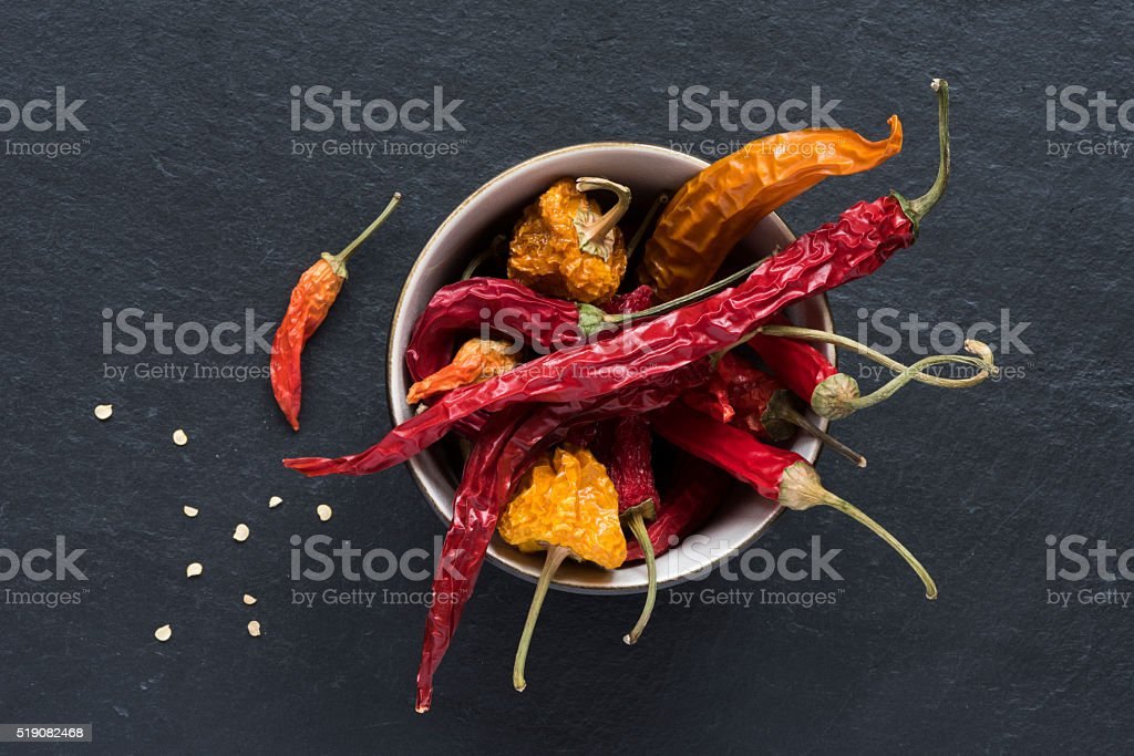 Dried Peppers stock photo
