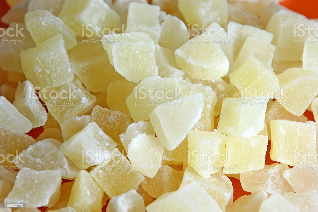 Dried pineapple on a plate, detailed view stock photo