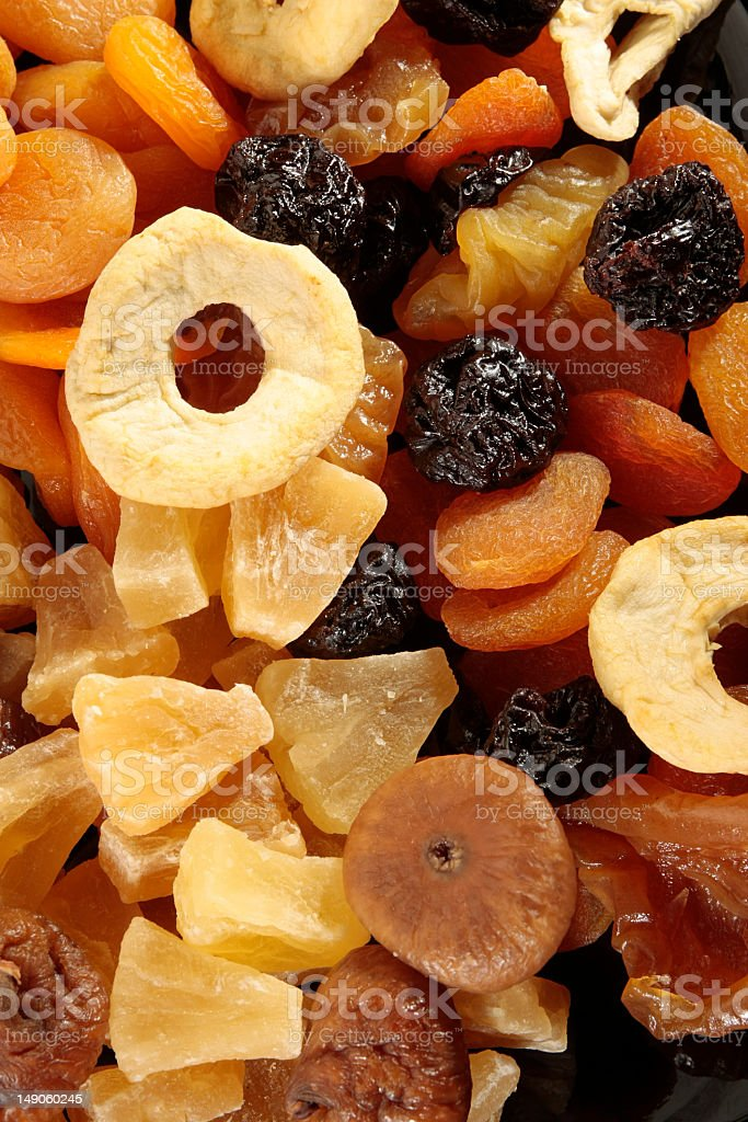 Dried pineapple, plums and apricots stock photo