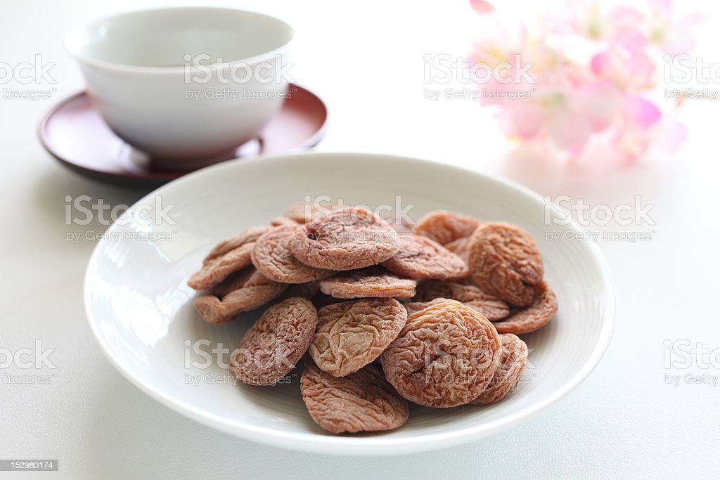 Dried Plum and tea royalty-free stock photo
