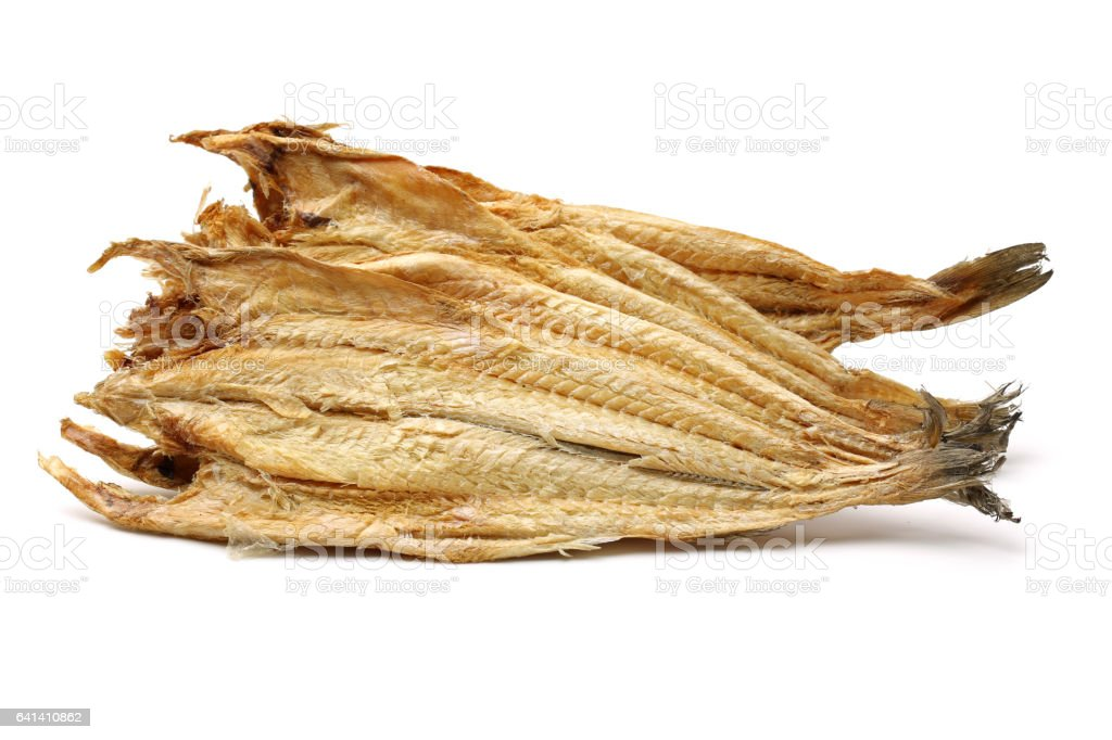 Dried Pollack on the white background stock photo