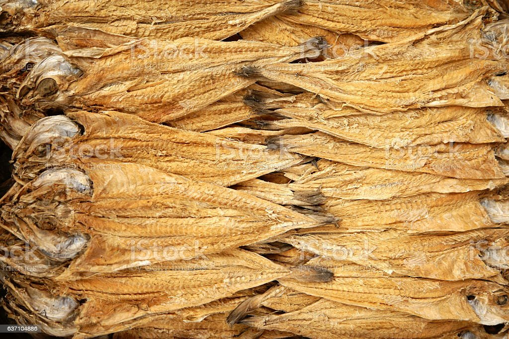 dried pollack strung together at a local Korean market stock photo