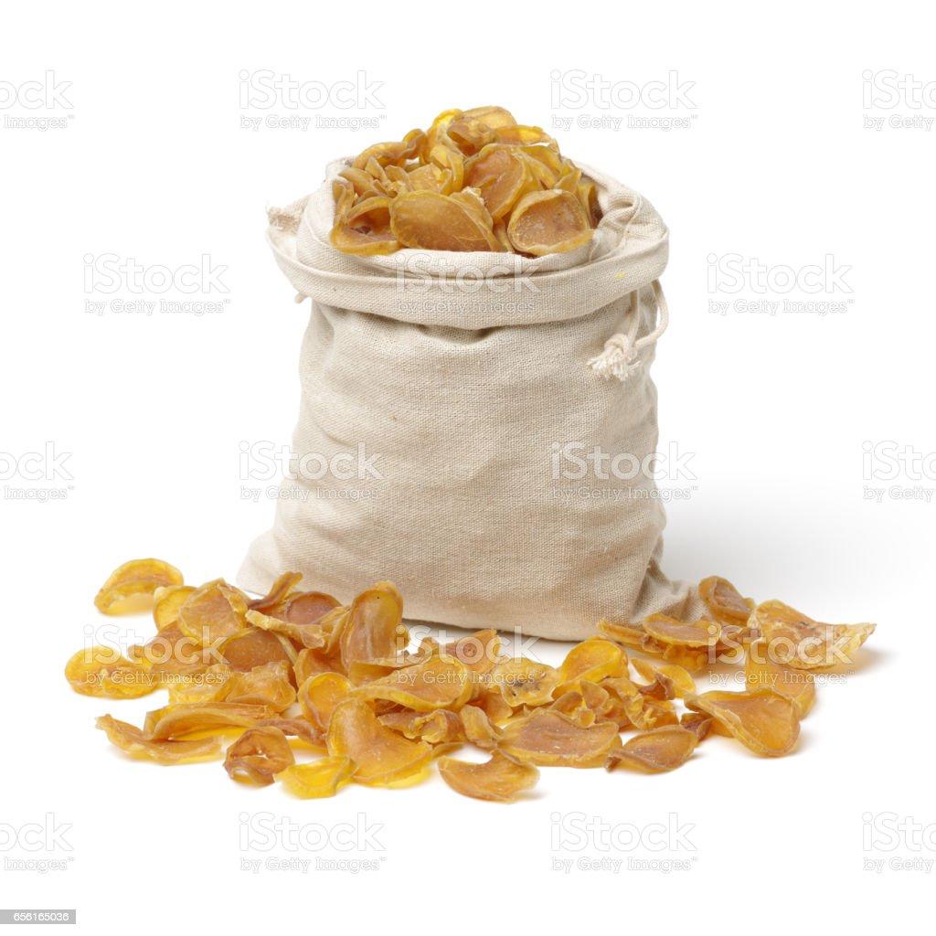 Dried potato slice  on white background stock photo