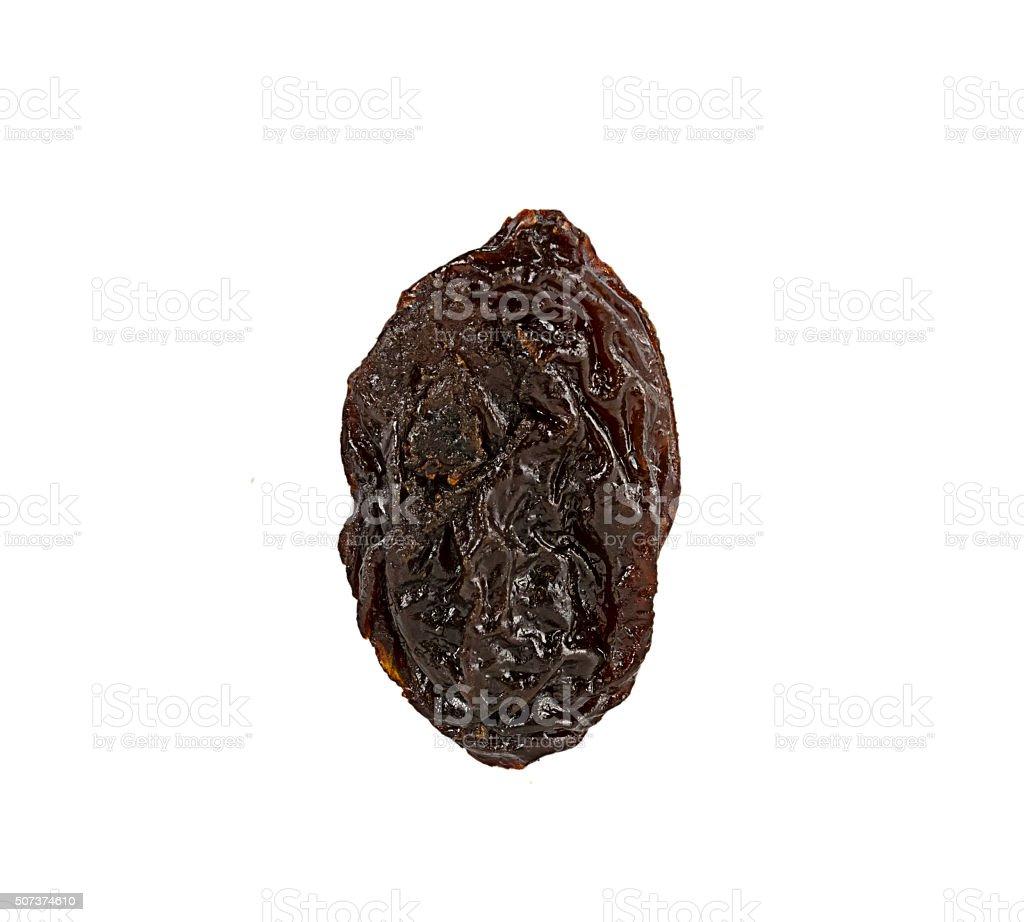 Dried raisins on white background stock photo