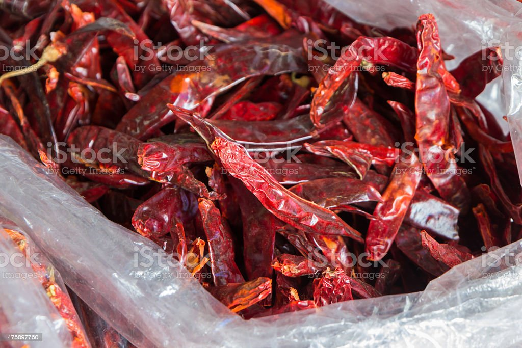 Dried red chilli for sale at market,Thailand royalty-free stock photo