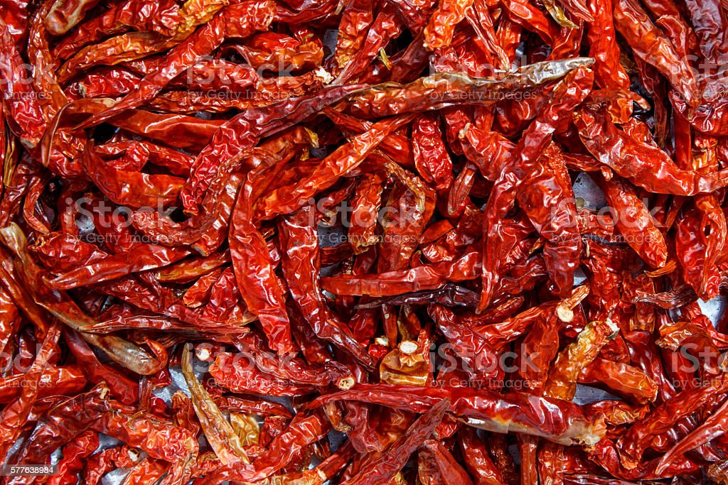 Dried red chillies stock photo