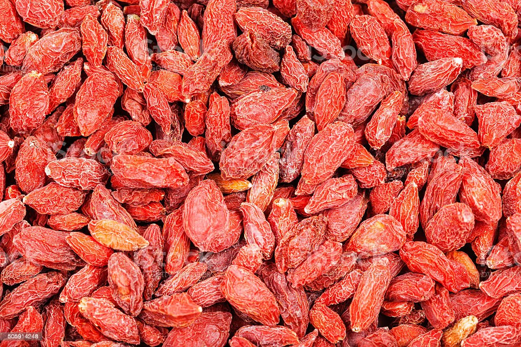 dried red goji berries stock photo