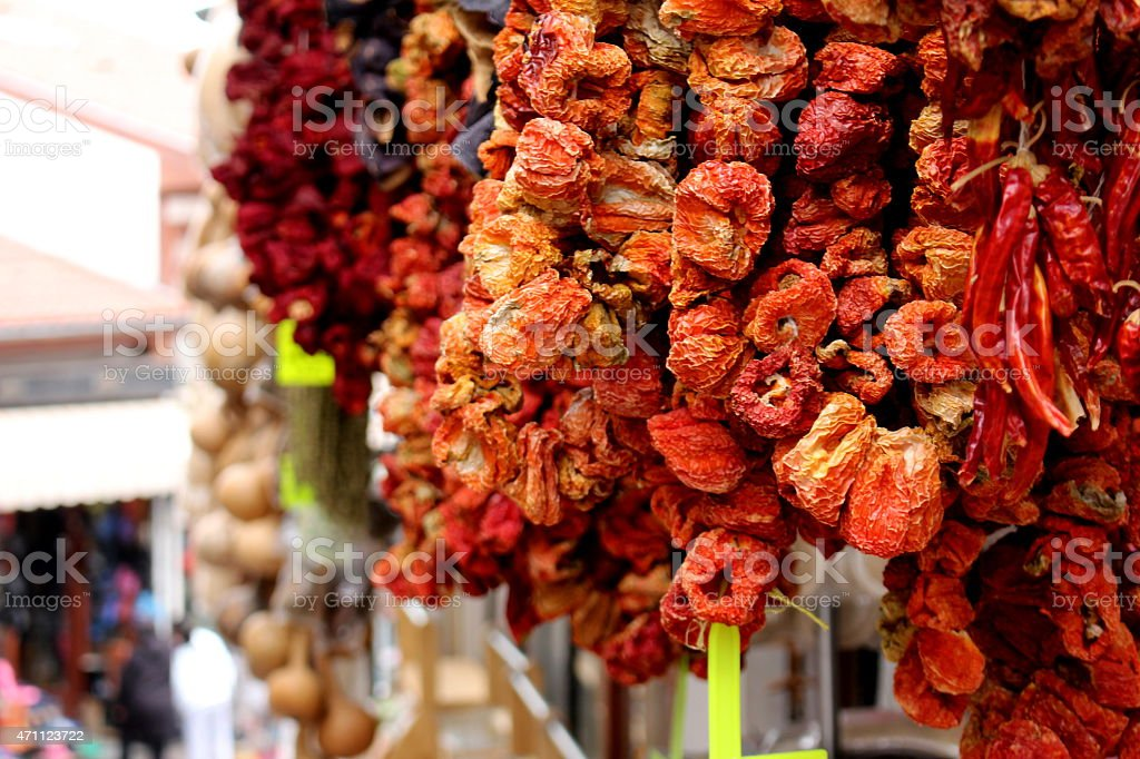 Dried Red Peppers stock photo