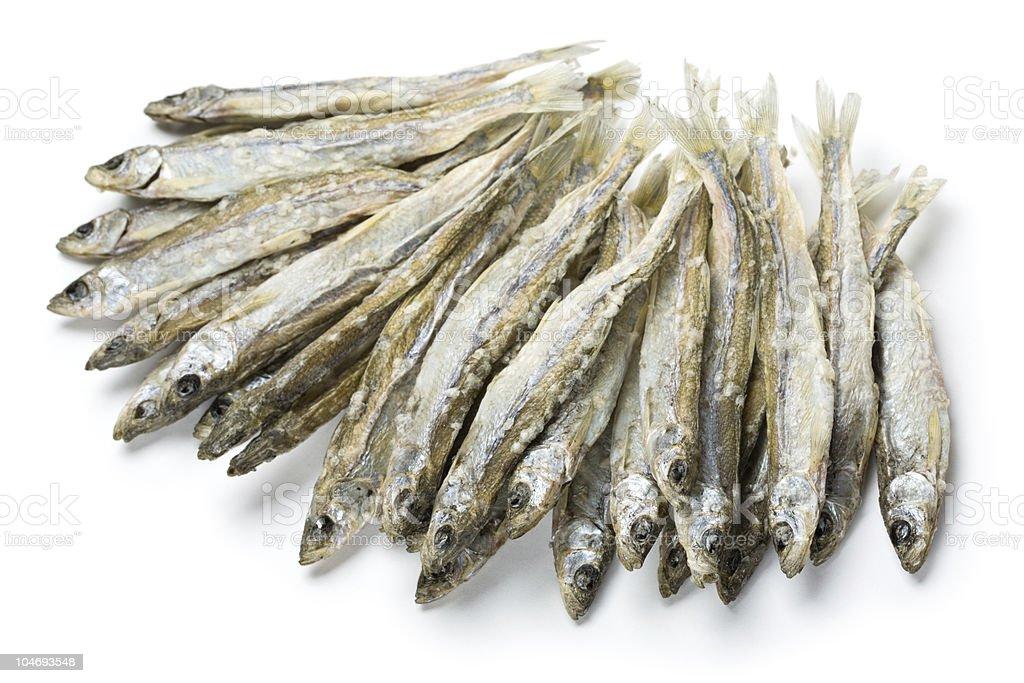 Dried salted sprat stock photo