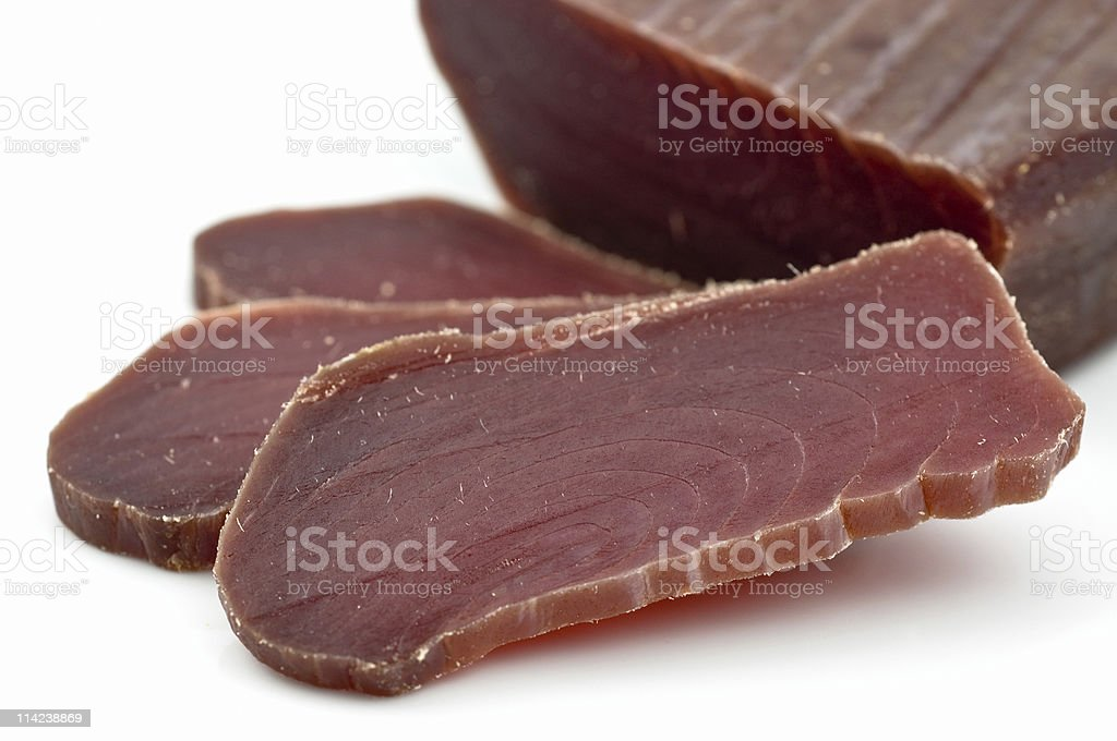 Dried salted tuna slices called mojama in Spain royalty-free stock photo