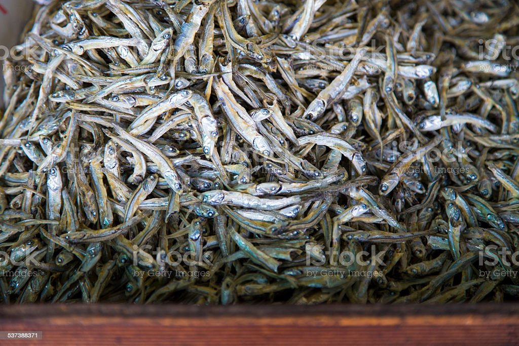 Dried Sardines in Wooden Box stock photo