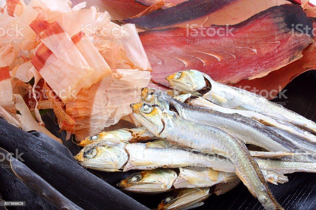 Dried sardines, kelp and dried bonito, ingredients of Japanese broth stock photo