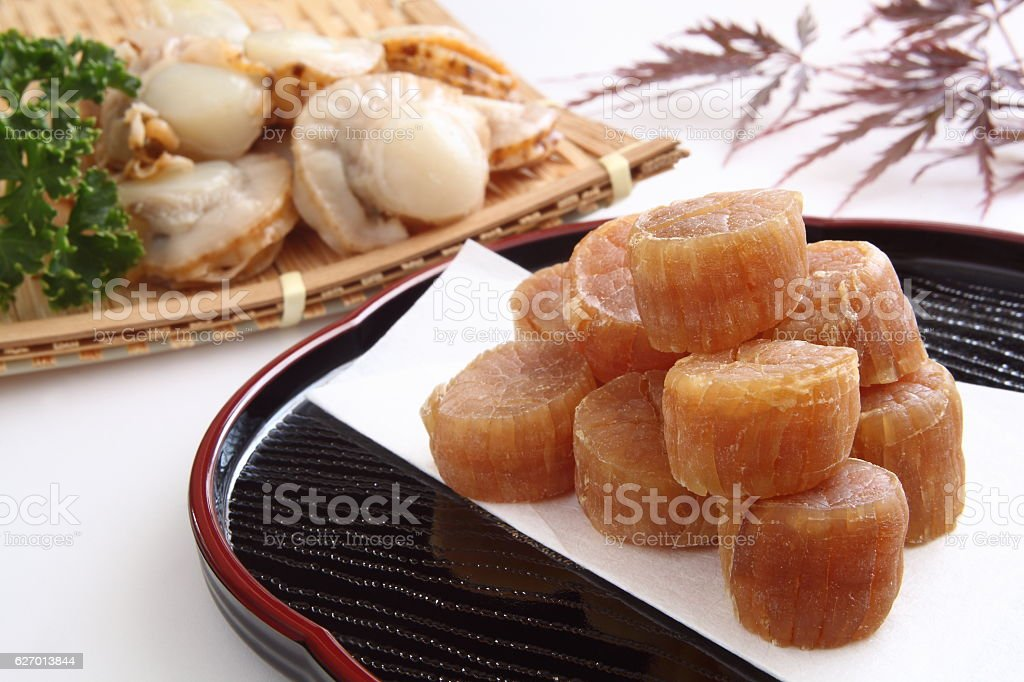 Dried scallop and raw scallop stock photo