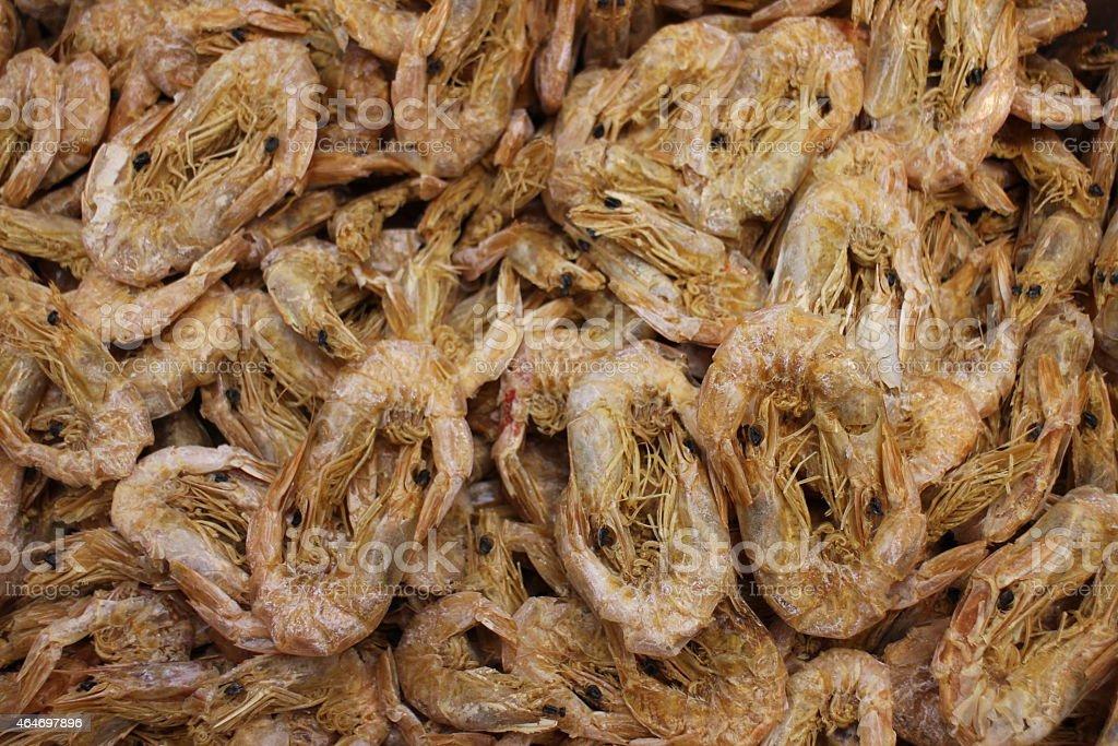Dried shrimp background stock photo