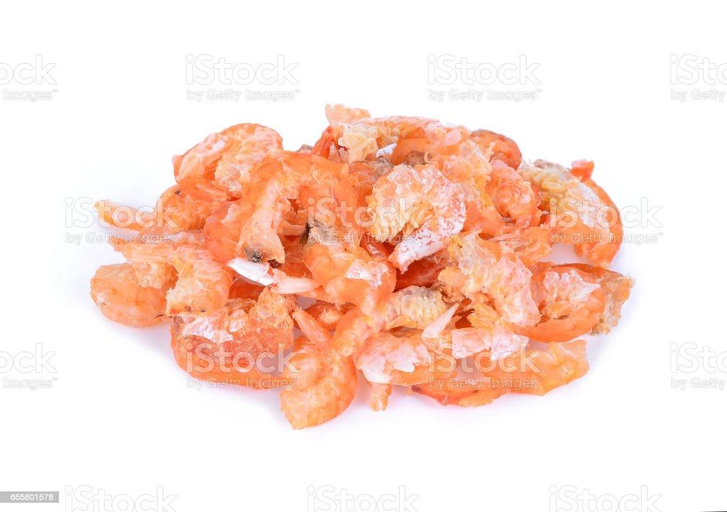 dried shrimp isolated on white background stock photo