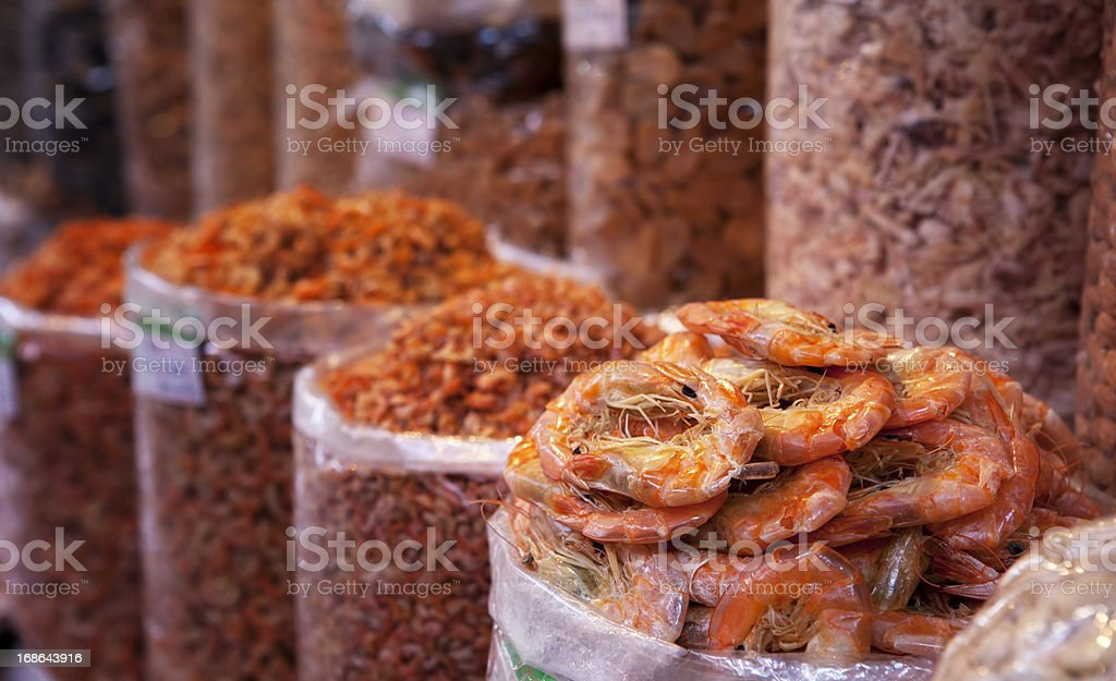Dried Shrimps in a food market in Haikou, China stock photo