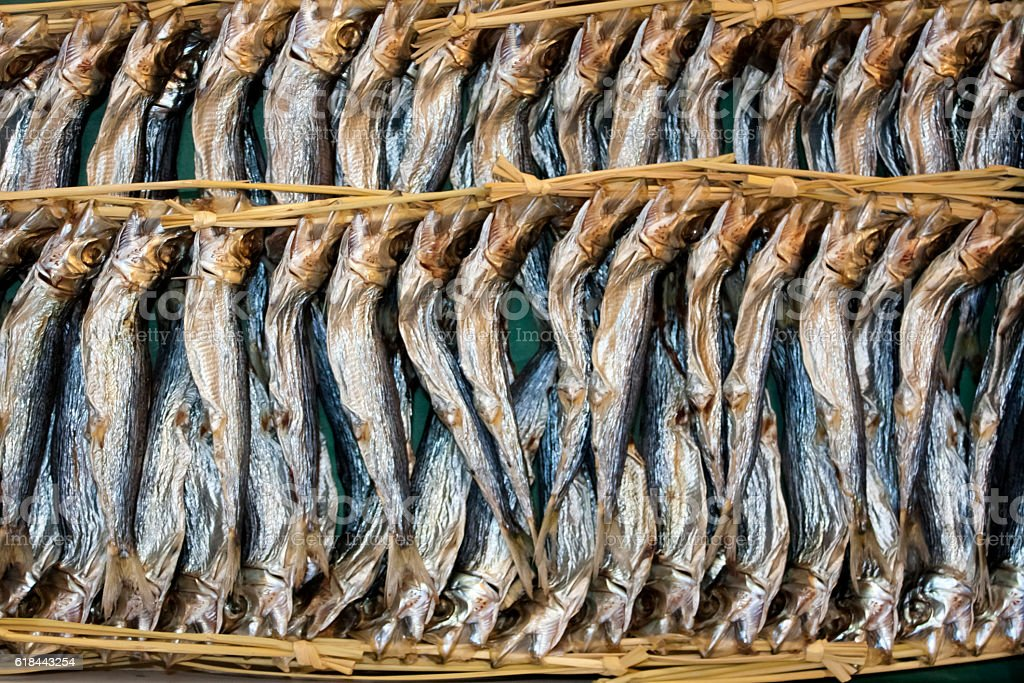 Dried small sardines, in Tokyo fish market. stock photo