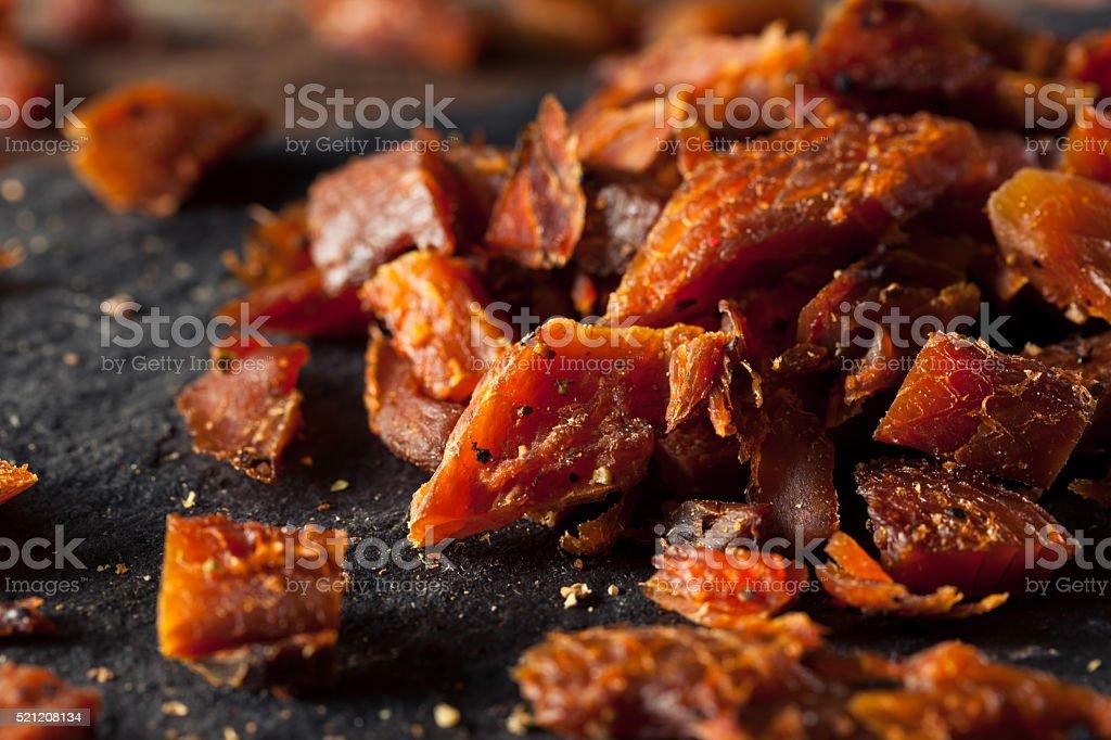 Dried Smoked Salmon Jerky stock photo