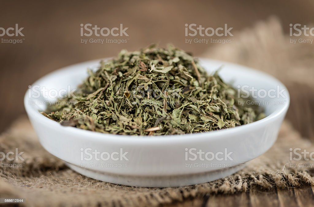 Dried Stevia leaves (selective focus) stock photo
