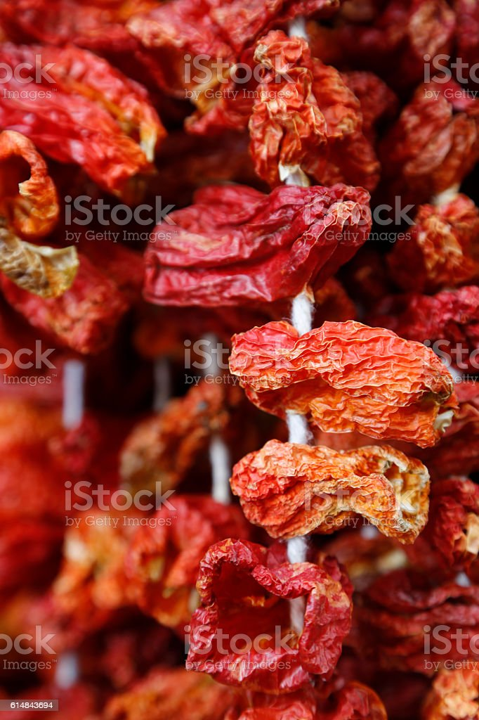 Dried stuffed peppers stock photo