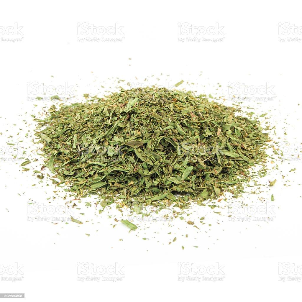 dried tarragon stalks on a white background stock photo