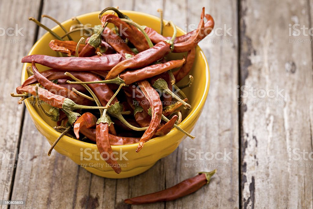 Dried Thai Peppers royalty-free stock photo
