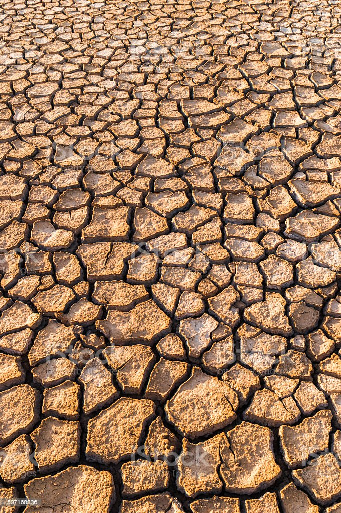 Dried up land - global warming - dry, parched earth stock photo