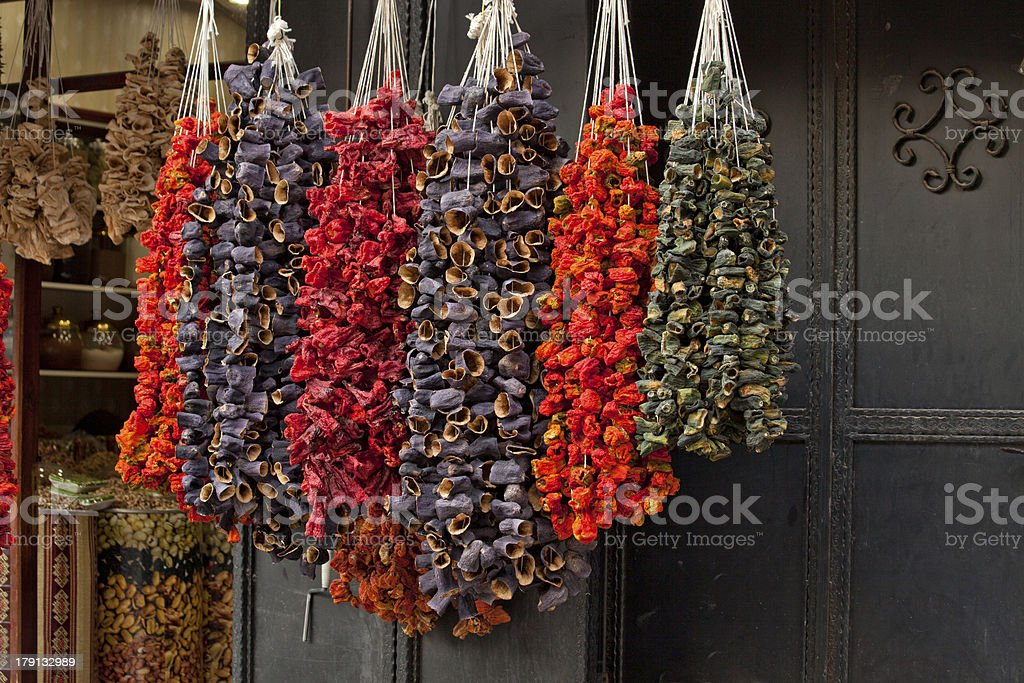 dried vegetables pepper eggplant and zuccini in turkey royalty-free stock photo